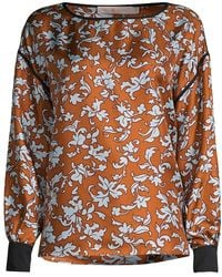 Tory Burch Printed Floral Silk Blouse - Multicolor