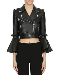 Moschino Modern Marie Antoinette Cropped Leather Jacket - Black