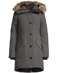 Canada Goose Rossclair Fur Trim Down Parka - Black
