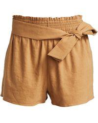 Alice + Olivia Linen-blend Tie-waist Paperbag Shorts - Brown