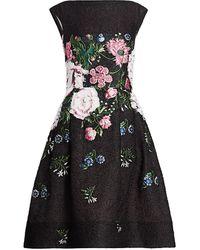 Oscar de la Renta Sleeveless Floral Cocktail Dress - Black