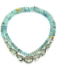 Lena Skadegard - Onda Green Amethyst, Aquamarine & 18k Yellow Gold Long Pebble Necklace - Lyst