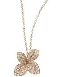 Pasquale Bruni Petite Garden 18k Rose Gold & Pavé Diamond Flower Necklace - Metallic