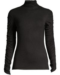 Josie Natori Ruched-sleeve Sweater - Black