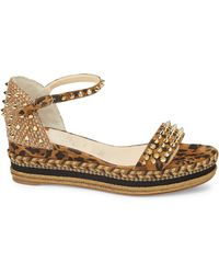 Christian Louboutin Madmonica Platform Leopard-print Leather Wedge Sandals - Multicolour