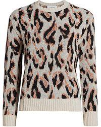 10 Crosby Derek Lam Evan Textured Leopard Sweater - Multicolor