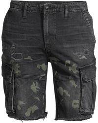 Hudson Jeans Camo Print Denim Cut-off Shorts - Black