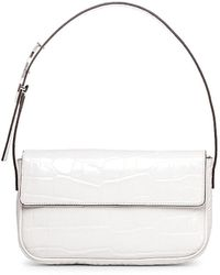 STAUD Tommy Croc-embossed Leather Baguette - White