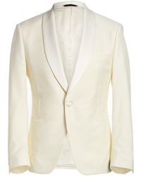 Saks Fifth Avenue Samuelsohn Classic-fit Shawl-collar Wool Dinner Jacket - White