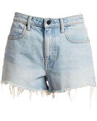 T By Alexander Wang Bite Frayed Denim Shorts - Blue