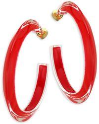 Alison Lou 14k Goldplated & Lucite Medium Jelly Hoop Earrings - Red