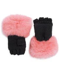 Surell - Kid's Rabbit Fur-trim Convertible Mittens - Lyst