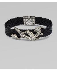 John Hardy - Silver Dragon & Leather Bracelet/brown - Lyst
