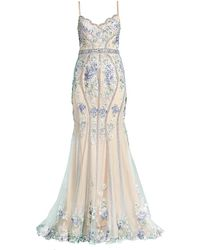 Jovani Embroidered Flower Gown - Natural