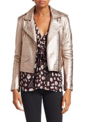 IRO - Ashville Cropped Metallic Leather Jacket - Lyst