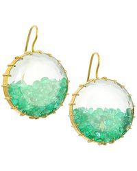 Renee Lewis 18k Yellow Gold & Emerald Shake Drop Earrings - Green