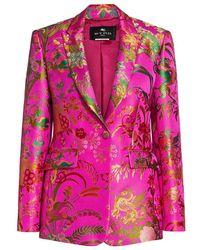 Etro Panarea Jacquard Floral Blazer Jacket - Pink