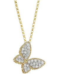 Roberto Coin 18k Yellow Gold Tiny Treasures Princess Diamond Butterfly Necklace - White