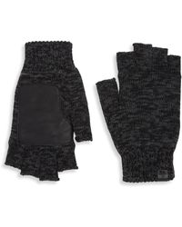 Bickley + Mitchell - Leather Patch Fingerless Gloves - Lyst