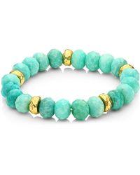 Nest Amazonite & 22k Hammered Gold 5-spacer Stretch Bracelet - Blue