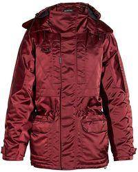 Balenciaga Incognito Oversized Parka Jacket - Red