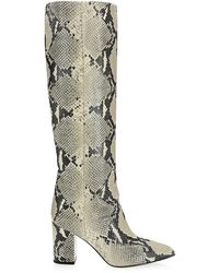 Paris Texas Knee-high Python-embossed Leather Boots - Natural