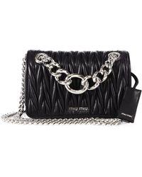 Miu Miu Club Medium Metallic Matelasse Leather Crossbody Bag