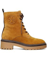 Tory Burch Miller Lug-sole Suede Combat Boots - Brown