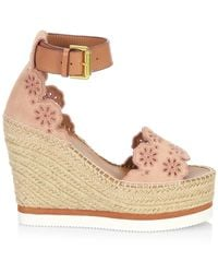 See By Chloé Laser Cut Suede Wedge Espadrilles - Natural