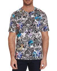 Robert Graham Camo Starburst Floral Graphic T-shirt - Blue