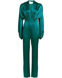 Carolina Ritzler Deep V-neck Billowed Satin Jumpsuit - Green