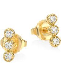 Hearts On Fire - Diamond & 18k Yellow Gold Earrings - Yellow Gold - Lyst