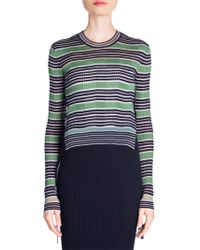 Fendi - Rib Knit Striped Crop Pullover - Lyst