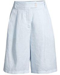 120% Lino 120% Lino Pinstriped Pleated Linen Shorts - Blue