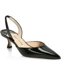 Manolo Blahnik Carolyne Patent Leather Slingbacks - Black