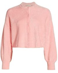 Alice + Olivia - Sylvie Fuzzy Relaxed Cropped Cardigan - Lyst