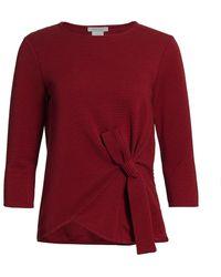 Joan Vass Petite Ottoman Tie Top - Red
