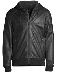 Saks Fifth Avenue Collection Hooded Leather Jacket - Black