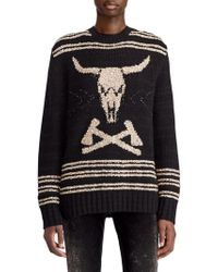 Ralph Lauren Collection - 50th Anniversary Steer Head Embroidered Crewneck Cashmere-linen Sweater - Lyst