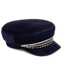 Eugenia Kim Marina Chain-trimmed Quilted Velvet Newsboy Cap - Blue