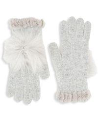 Glamourpuss Knit Fox Fur Pom-pom & Rabbit Fur Trim Gloves - White
