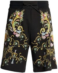 Versace Jeans Couture Colorful Baroque Drawstring Shorts - Black