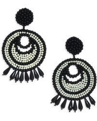 Kenneth Jay Lane - Seed Bead Gypsy Hoop Clip-on Earrings - Lyst