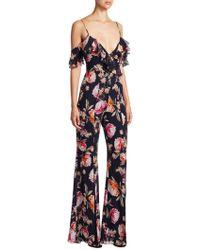 Nicholas - Lucile Floral Double Frill Jumpsuit In Black - Lyst