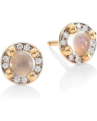 Pomellato - M'ama Non M'ama 18k Rose Gold Moonstone & Diamond Stud Earrings - Lyst