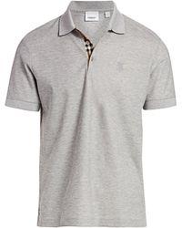 Burberry Monogram Motif Cotton Piqué Polo Shirt - Blue