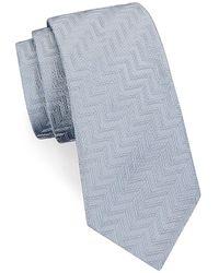 Giorgio Armani Chevron Silk Tie - White
