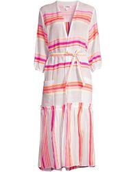 lemlem Qelem Long Striped Robe - Pink