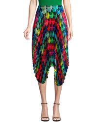 MILLY Pleated Geo Print Skirt - Multicolour