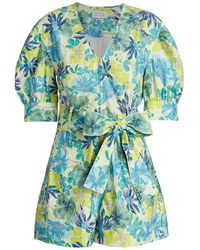 Tanya Taylor - Becky Floral Puff-sleeve Romper - Lyst